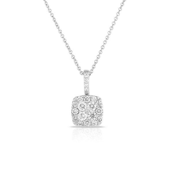 Cushion Shape Pavé Diamond Pendant, 14K White Gold