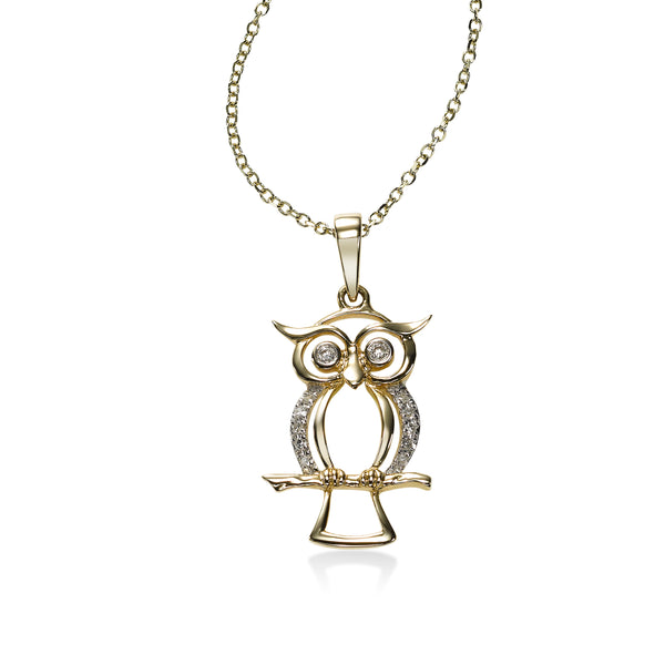 Two Tone Owl Pendant with Diamonds, 14 Karat Gold