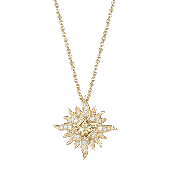 Diamond Starburst Pendant, 14K Yellow Gold