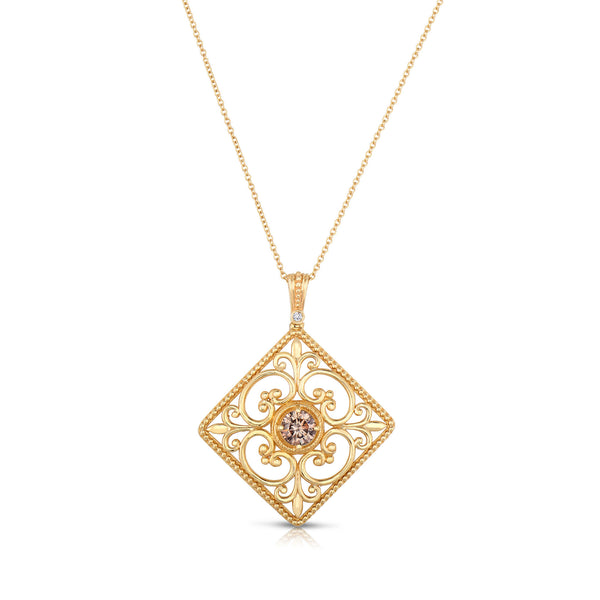 Open Scrollwork Brown Diamond Pendant, 14K Yellow Gold