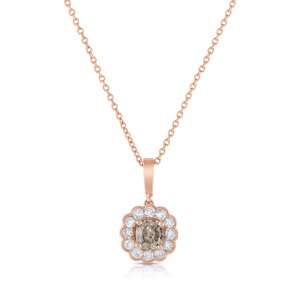 Flower Design Diamond Pendant, 14K Rose Gold
