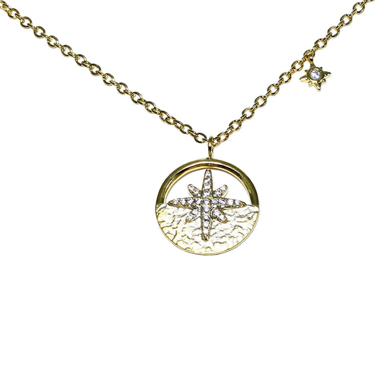Diamond Starburst in Disc Pendant, 14K Yellow Gold