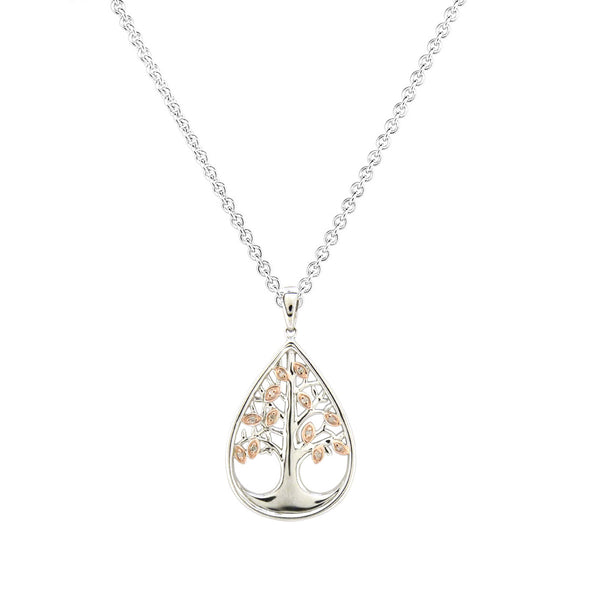Two Tone Tree of Life Diamond Pendant, 14 Karat Gold