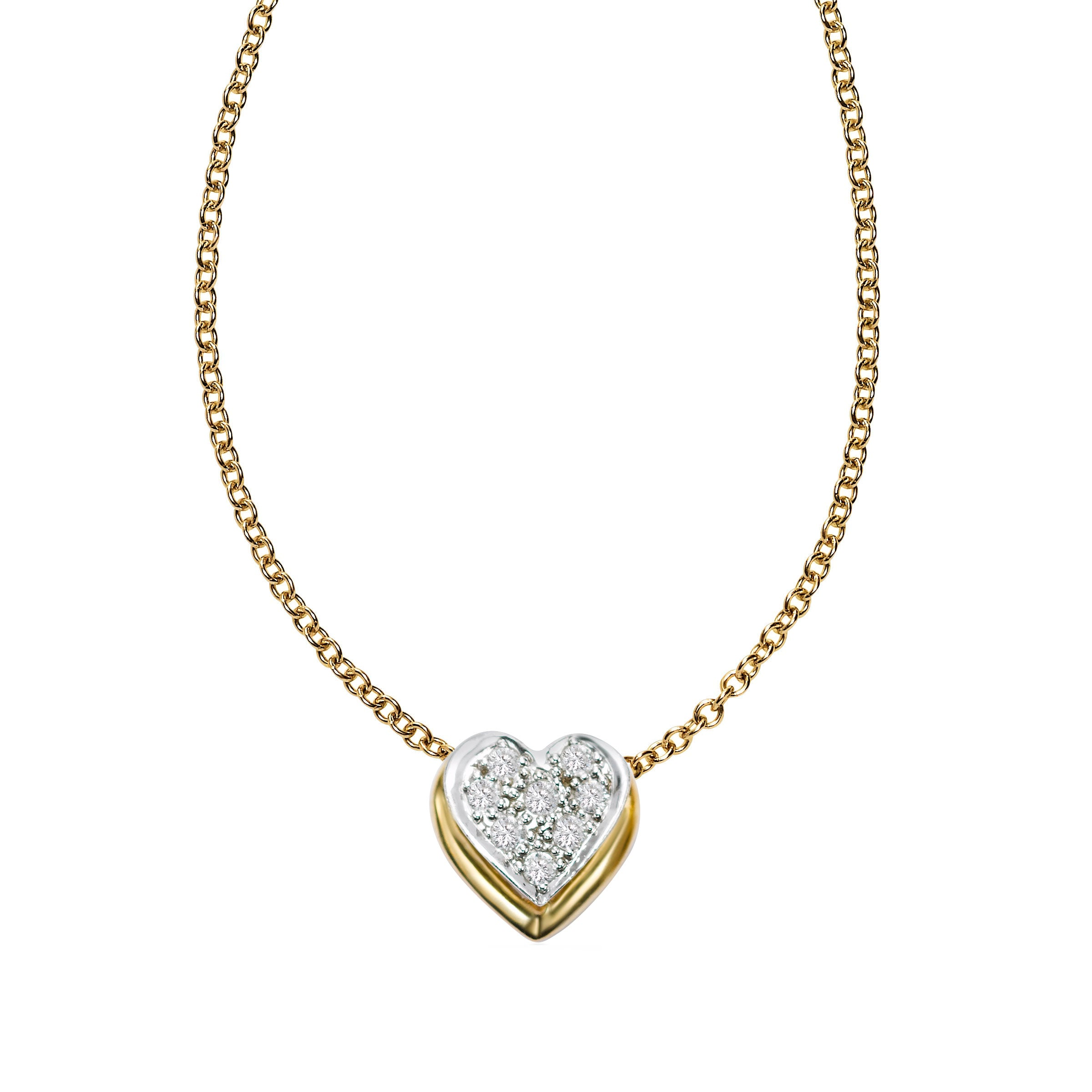 Pavé Diamond Floating Heart Pendant, 14 Karat Gold