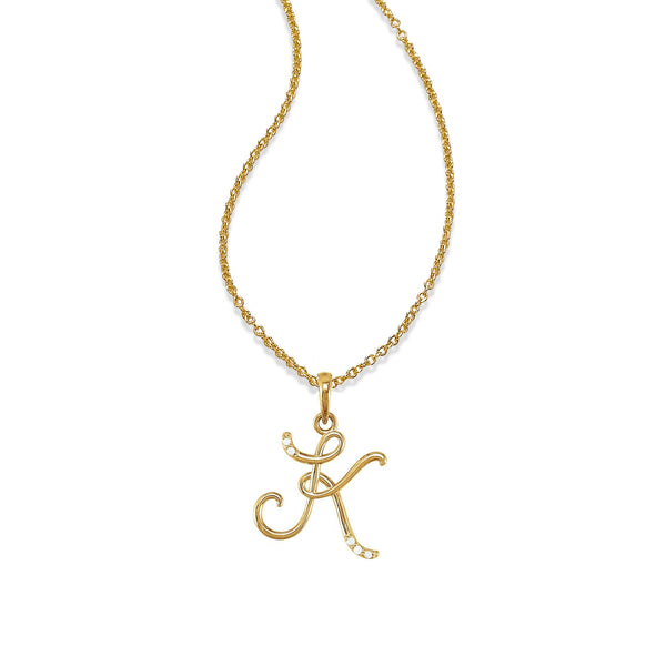 Script Capital Letter Initial Pendant, 14K Yellow Gold