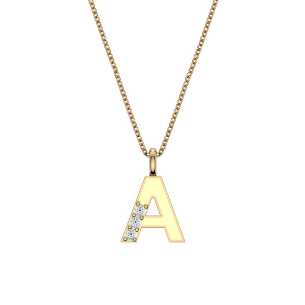 Capital Letter Yellow Enamel Initial Pendant, 14K Yellow Gold
