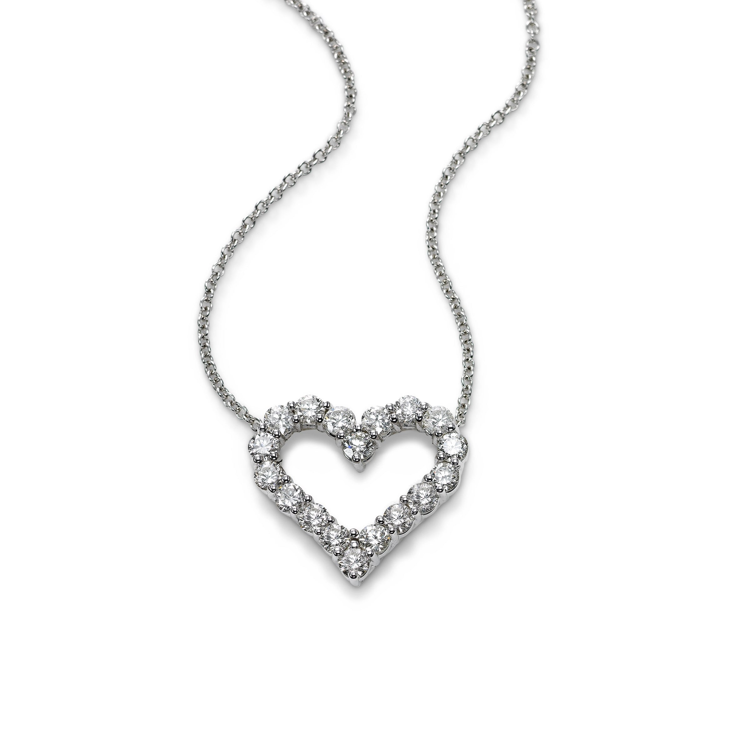 Open Heart Diamond Necklace, .25 Carat, 14K White Gold