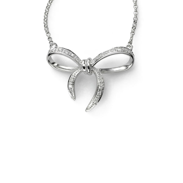 Diamond Bow Necklace, 16 Inches, 14K White Gold