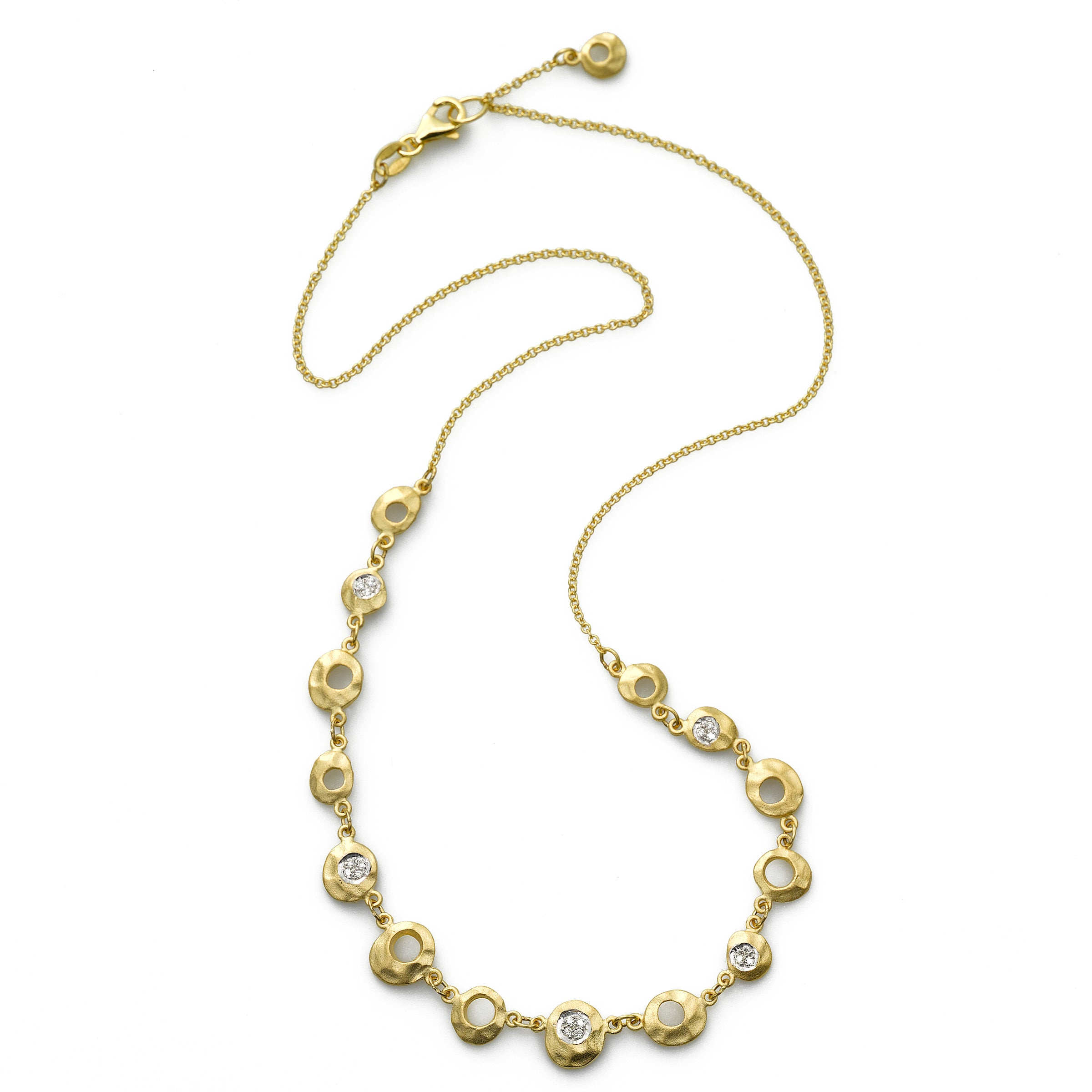 Hammered Diamond Design Necklace, 14K Yellow Gold