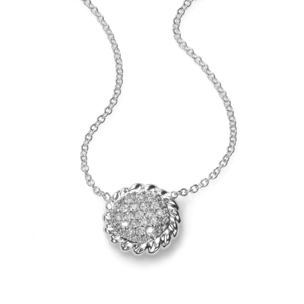Pavé Diamond Circle Pendant, .25 Carat, 14K White Gold