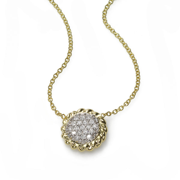 Pavé Diamond Circle Pendant, .25 Carat, 14 Karat Gold