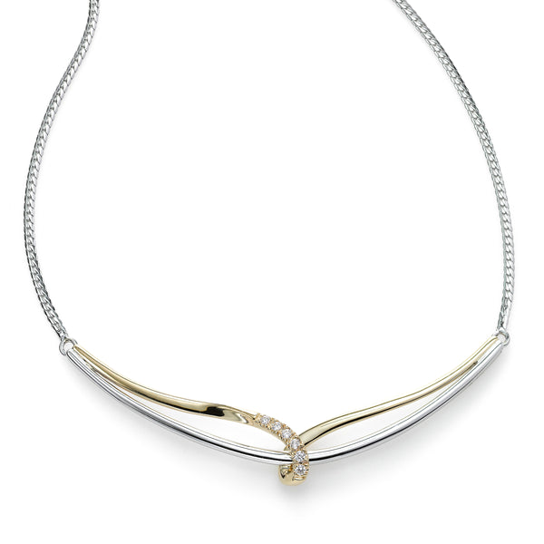 Modern Diamond and White and Yellow Gold Necklace