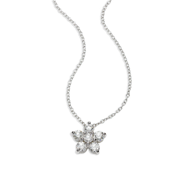 Diamond Flower Necklace, .42 Carat, 14K White Gold