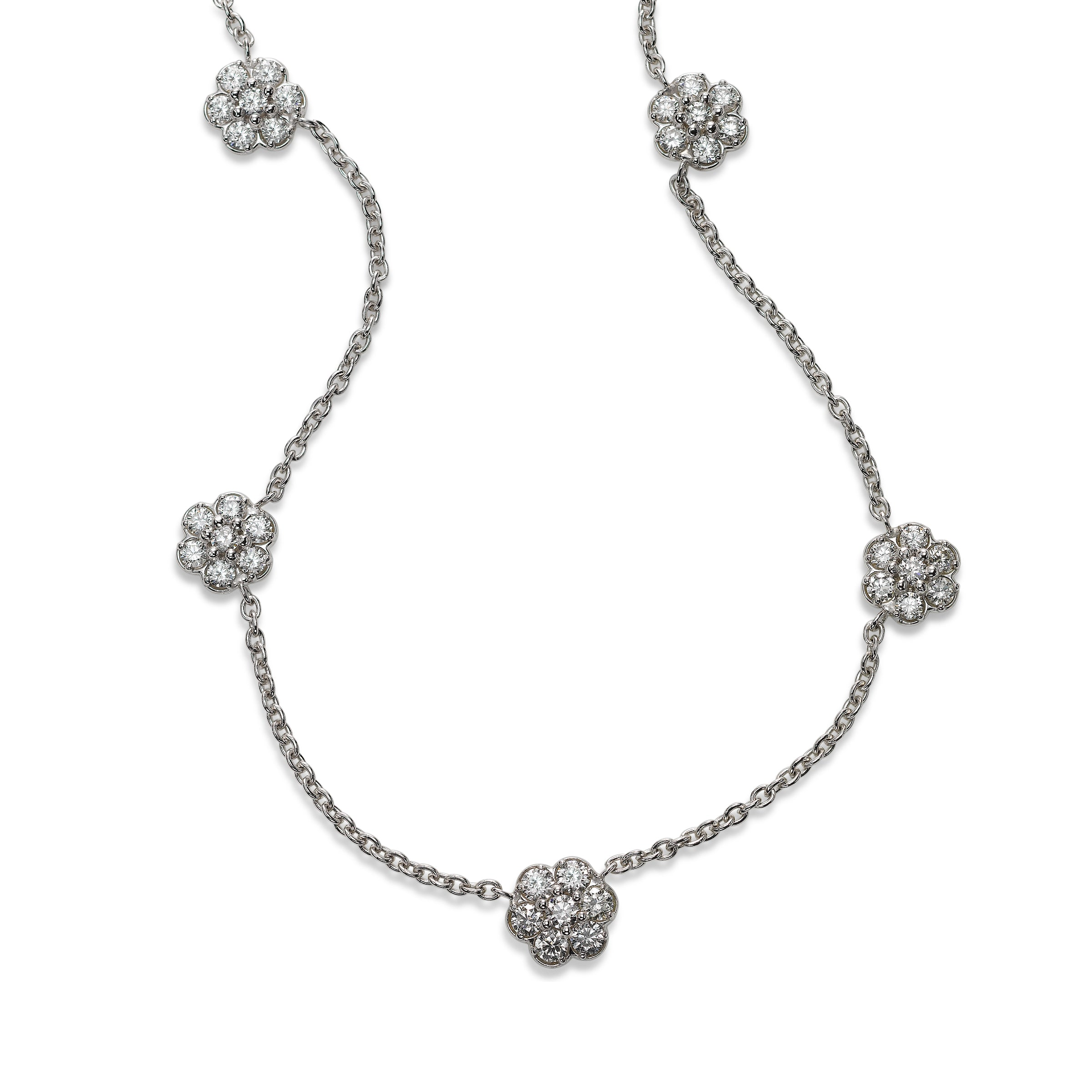 Diamond Foral Five Station Necklace, 14K White Gold