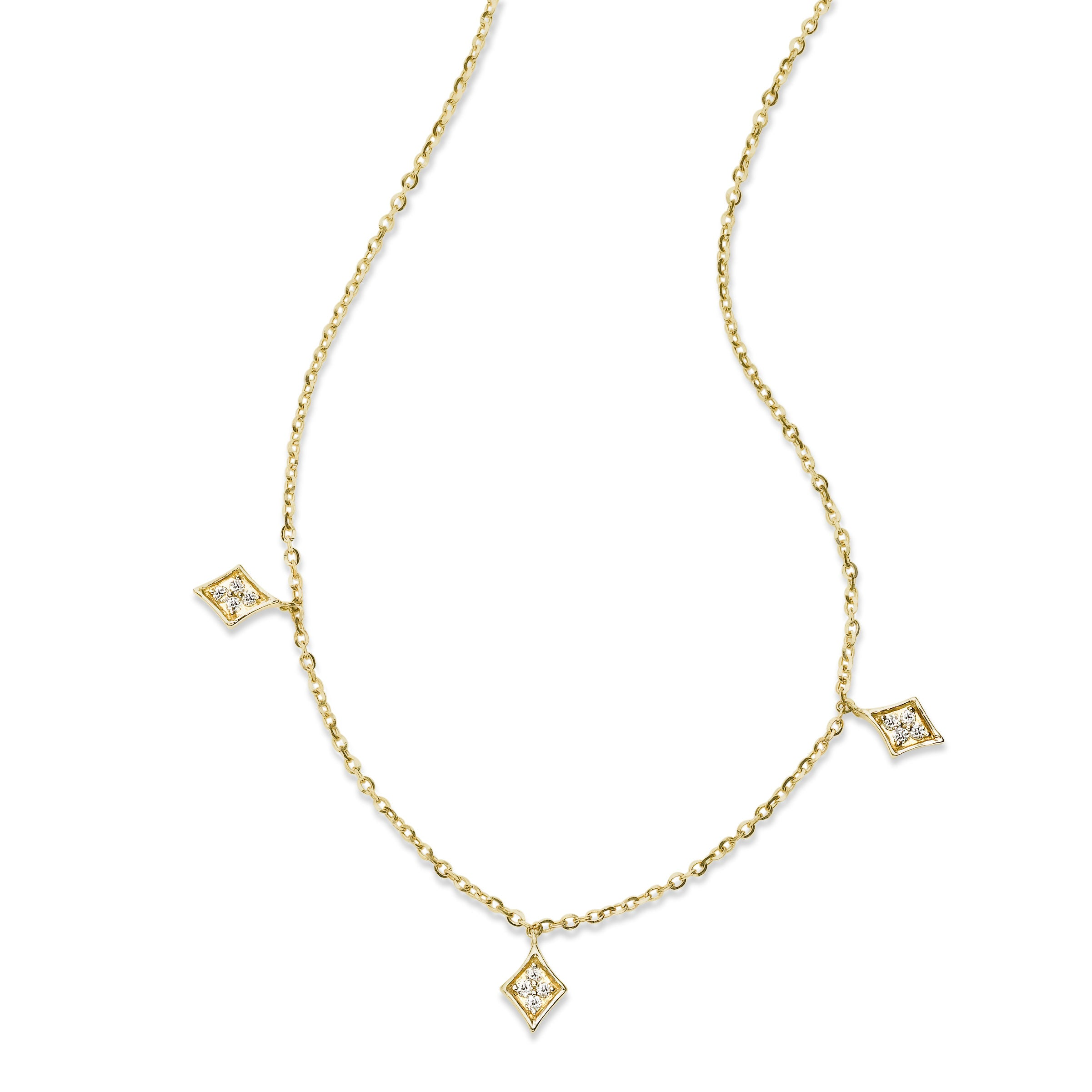 Marquise Shape Diamond Drop Necklace, 14K Yellow Gold