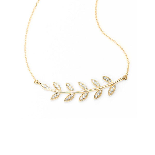 Diamond Branch Necklace, 14K Yellow Gold