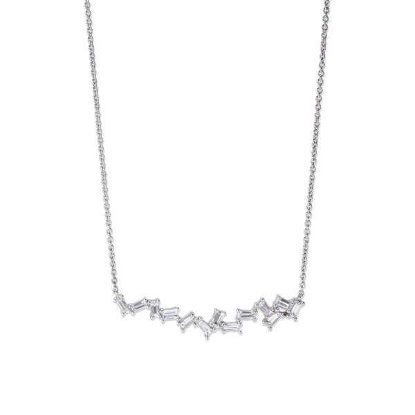 'Offbeat' Baguette Diamond Bar Necklace, 14K White Gold