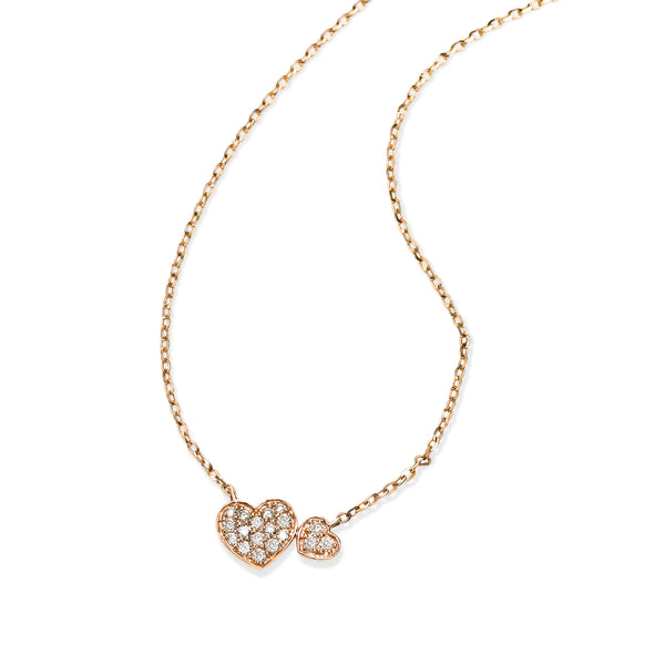 Pavé Diamond Heart Necklace, 14K Rose Gold