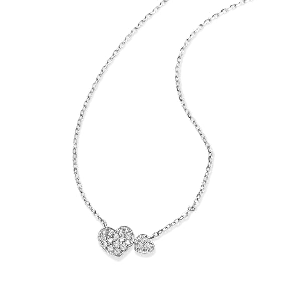 Pavé Diamond Heart Necklace, 14K White Gold
