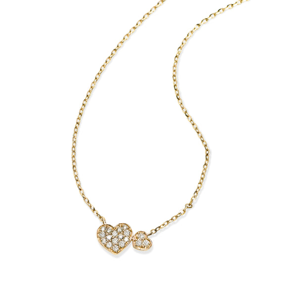 Pavé Diamond Heart Necklace, 14K Yellow Gold