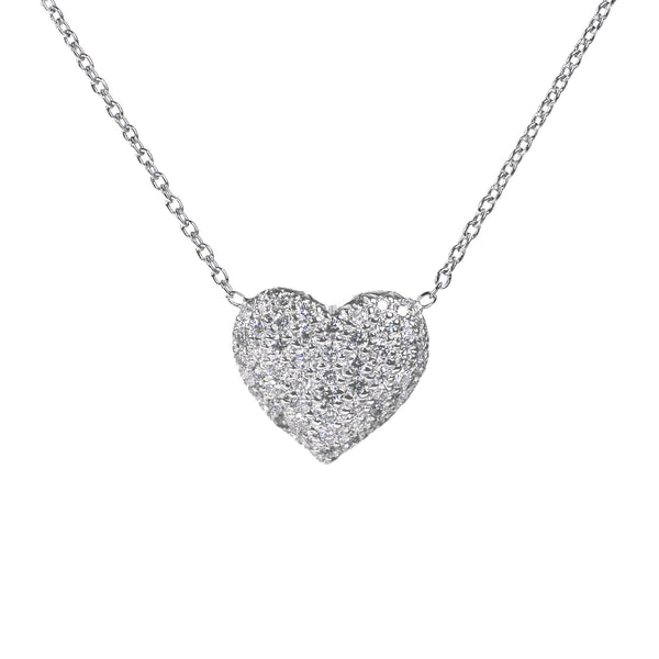 Pavé Set Diamond Heart Necklace, 14K White Gold