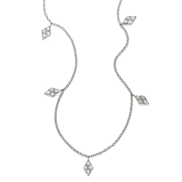 Marquise Dangle Diamond Necklace, 18 Inches, 14K White Gold