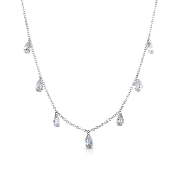 Pear Shape Diamond Drop Station Necklace, 14K White Gold