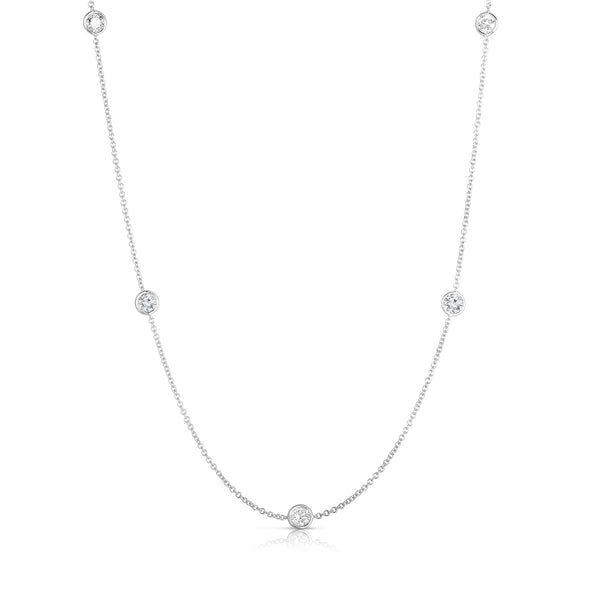 Bezel Diamond Stations Necklace, 18 Inches, .75 Carat, 14K White Gold