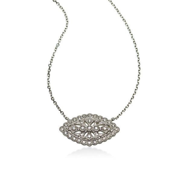 Vintage Design Diamond Necklace, 14K White Gold