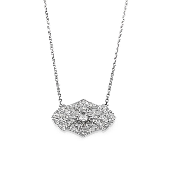 Vintage Style Diamond Necklace, 14K White Gold