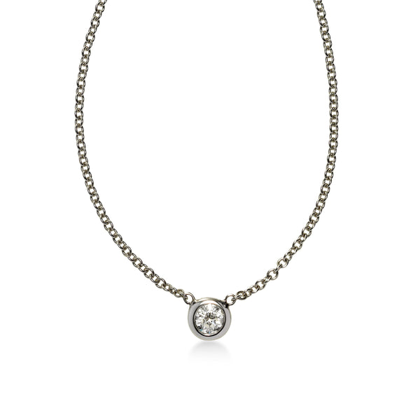 Bezel Set Diamond Solitaire Necklace, .11 Carat, 14K White Gold