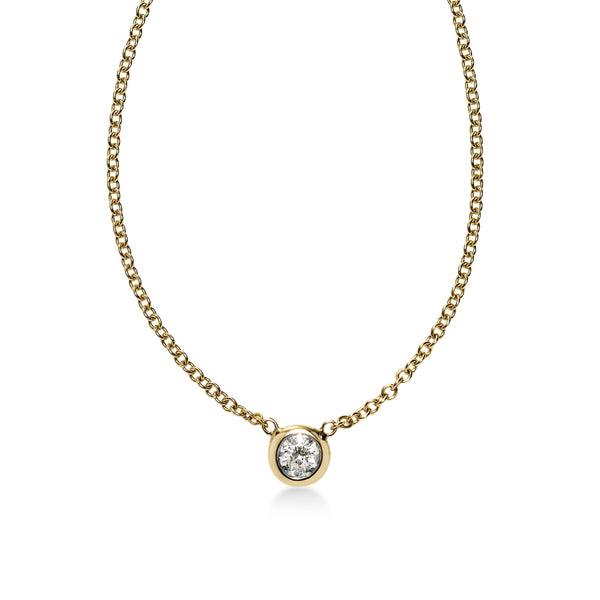 Bezel Set Diamond Solitaire Necklace, .11 Carat, 14K Yellow Gold
