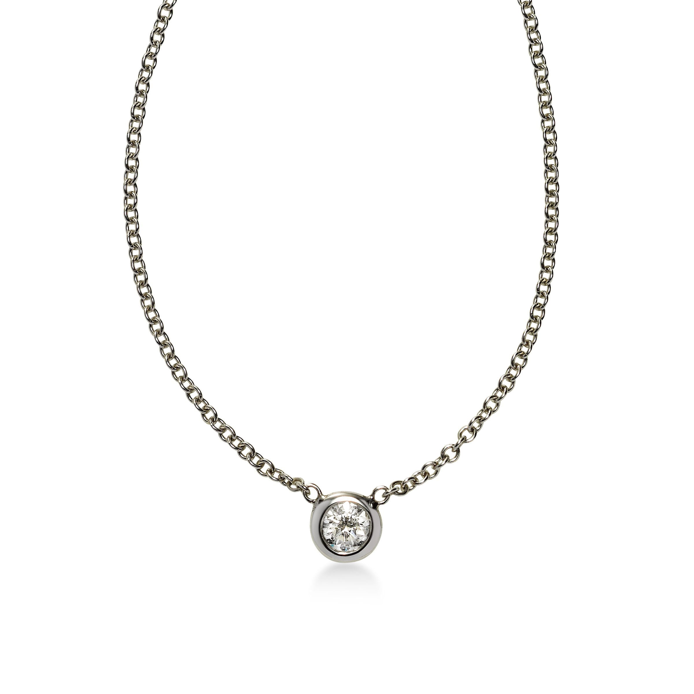 Bezel Set Diamond Solitaire Necklace, .30 Carat, Platinum