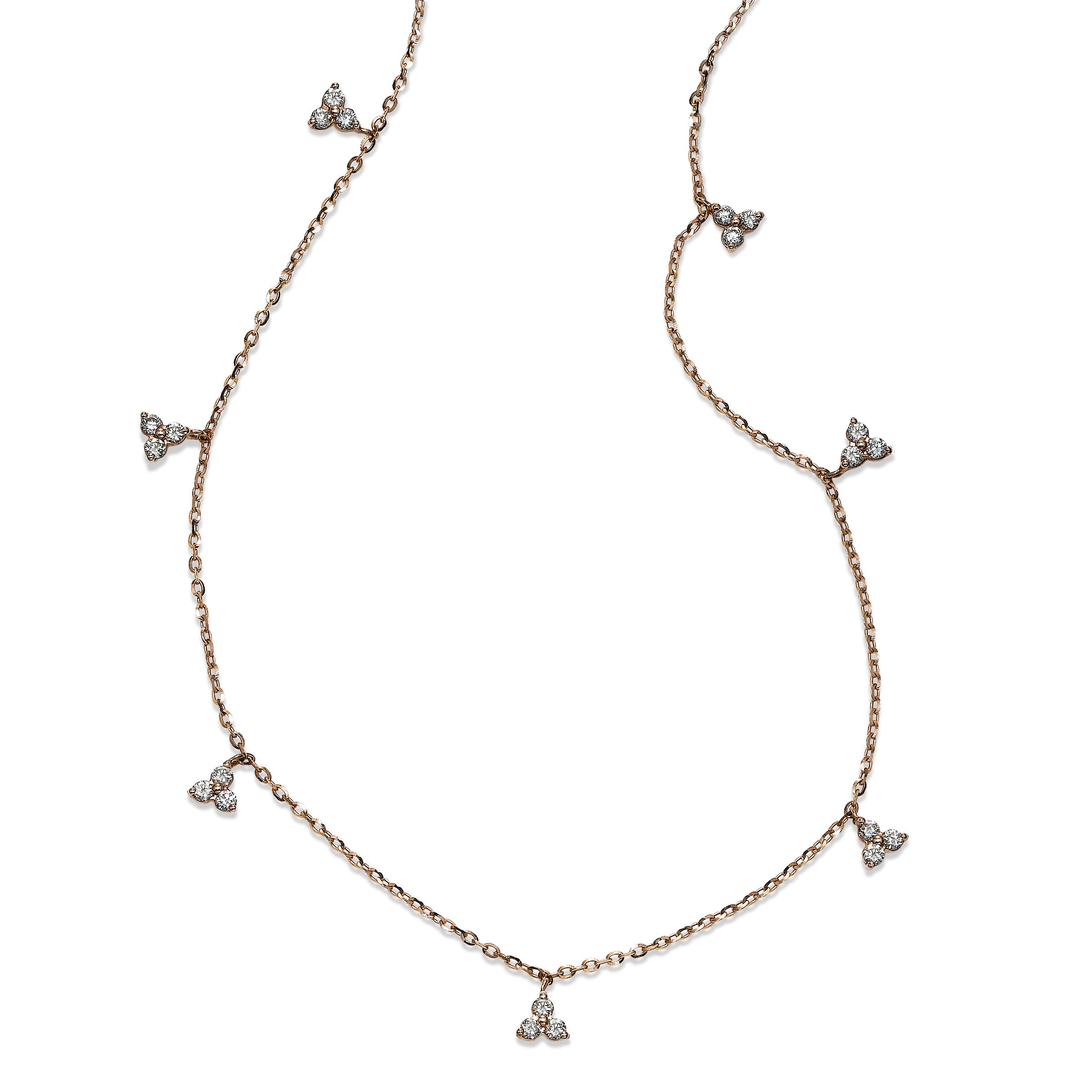 Diamond Cluster Dangles Station Necklace, 14K Rose Gold