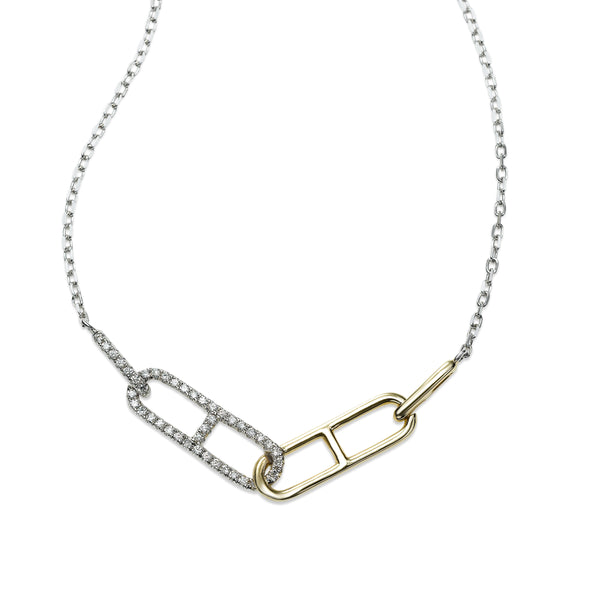 Two Tone Link Design Diamond Necklace, 14 Karat Gold