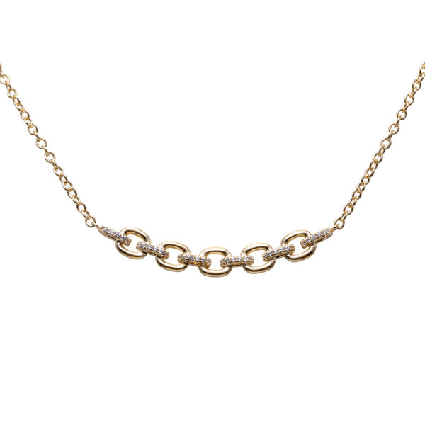 Square Link Diamond Necklace, 14K Yellow Gold