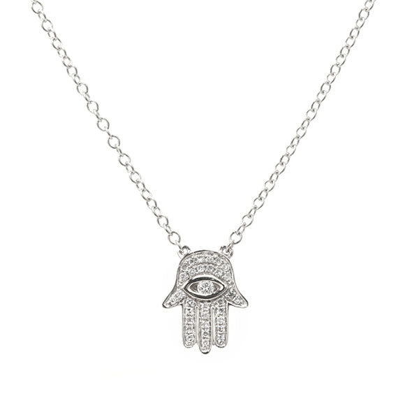 Pavé Diamond Hamsa Necklace, 14K White Gold