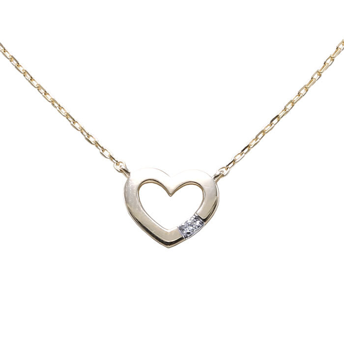 Open Design Heart Necklace with Diamond Accent, 14K Yellow Gold