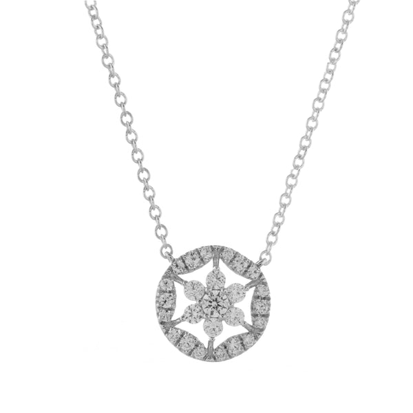 Open Design Diamond Cluster Necklace, 14K White Gold