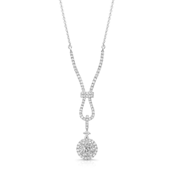 Elegant Diamond Drop Necklace, 14K White Gold