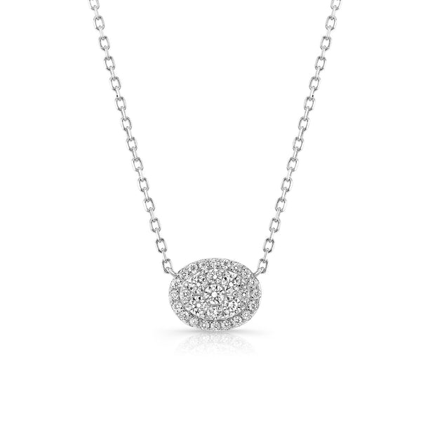 Oval Diamond Cluster Necklace, 14K White Gold