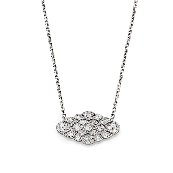 Horizontal Vintage Style Diamond Necklace, 14K White Gold