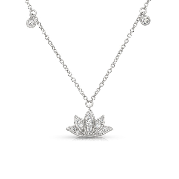 Diamond Lotus Necklace, 14K White Gold