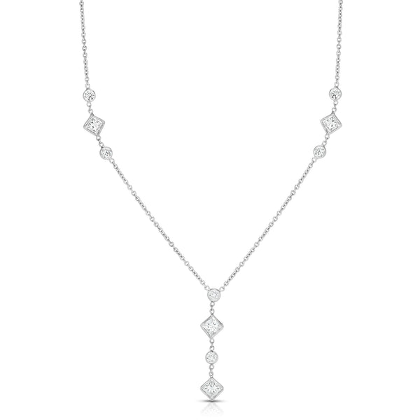Multi Shape Diamond Drop Necklace, 14K White Gold