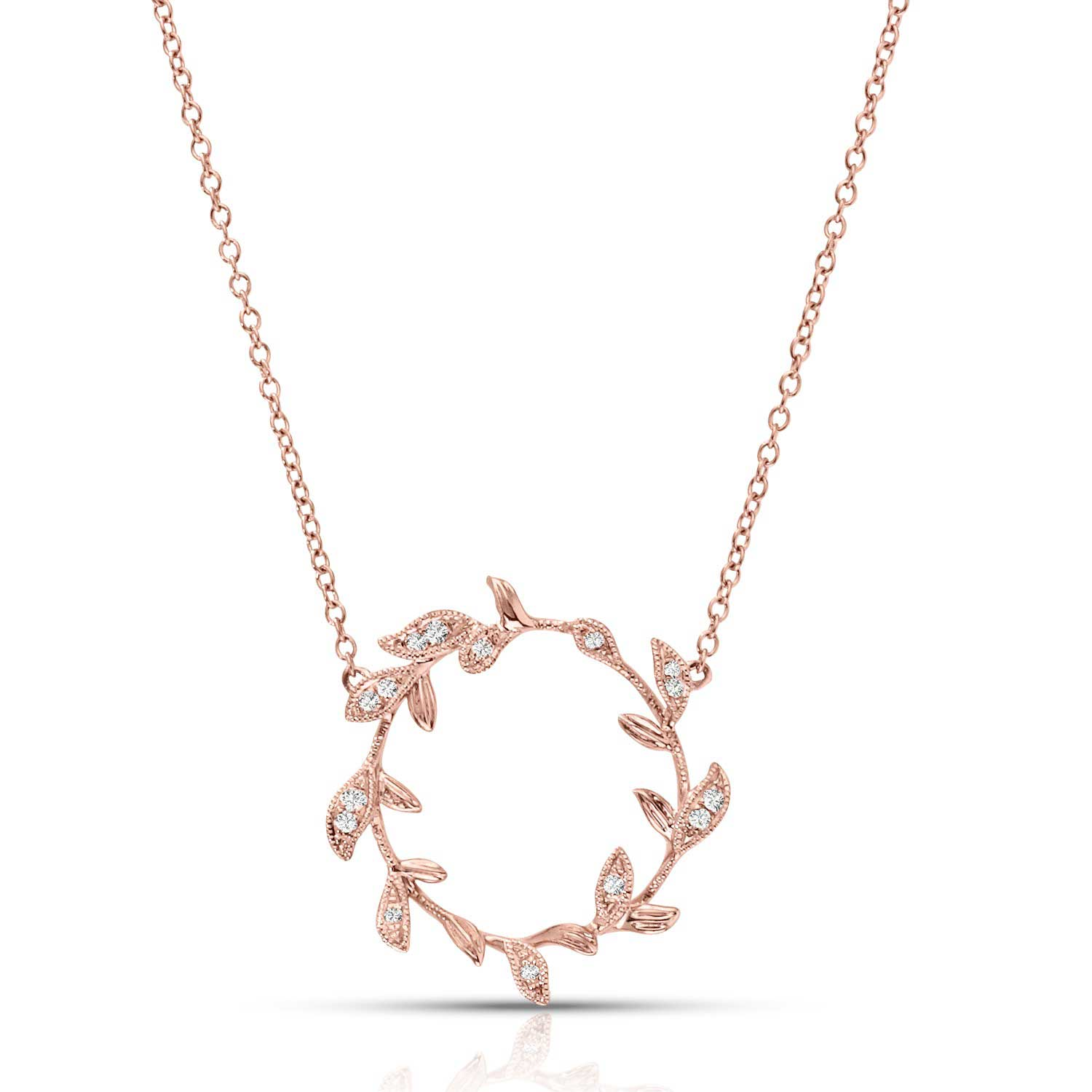 Diamond Wreath Necklace, 14K Rose Gold