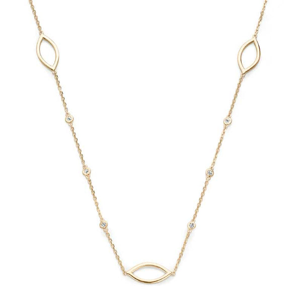 Open Marquise Shape Diamond Necklace, 14K Yellow Gold