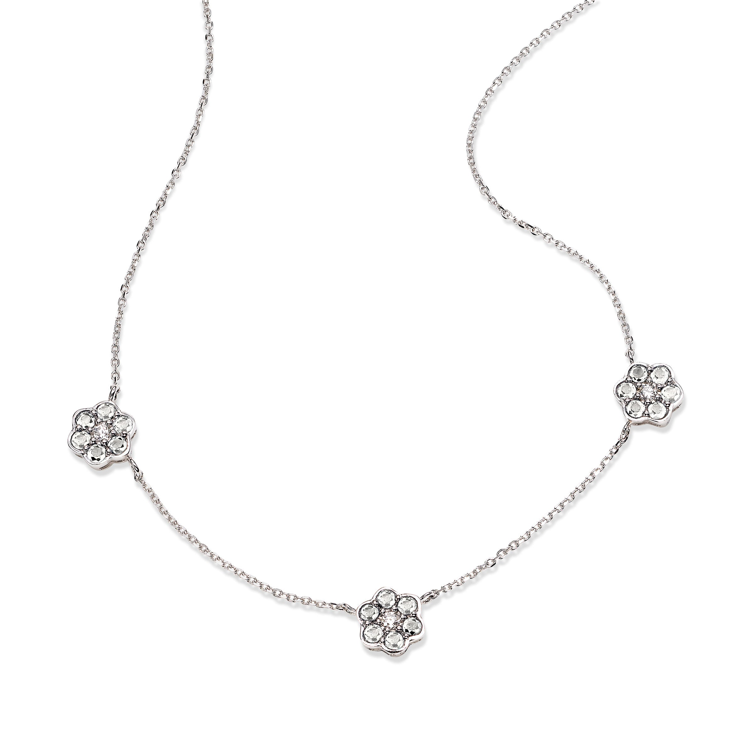 Diamond Foral Three Station Necklace, 14K White Gold