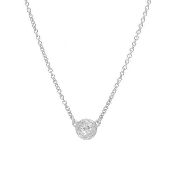Bezel Set Diamond Solitaire Necklace, .10 Carat, 14K White Gold