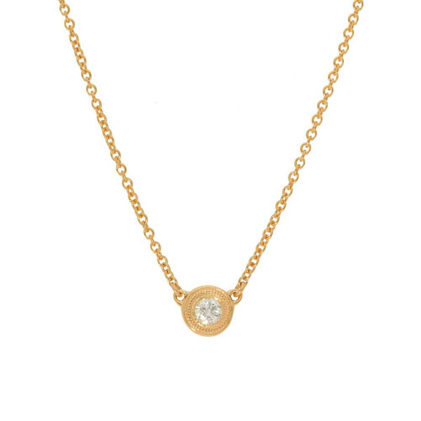 Bezel Set Diamond Solitaire Necklace, .10 Carat, 14K Yellow Gold