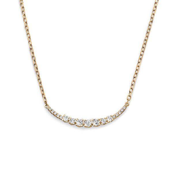Diamond Arc Necklace, 14K Yellow Gold